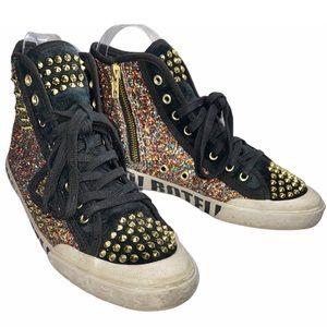 Ash 10 Glitter Studs Side Zip High Top Sneakers